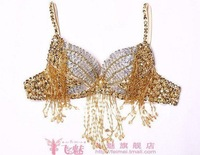 China post free shipping dancing belly dance butterfly beaded hanging bra tops wear costume garment clothing