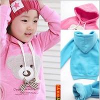 free shipping bear hoodies B2W2 bear head bowtie sweater pink and blue cartoon sweater kids wear, 0023
