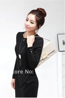 Top Sale Black/Beige long sleeve cheap lady formal cotton dress new fashion 2012 for women clothing