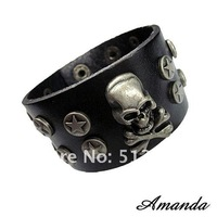 Кожаный браслет SL388/leather bracelet, high quality men cacowhide punk skull bracelet, fashion jewelry, 100% genuine leather, handmade jewelry