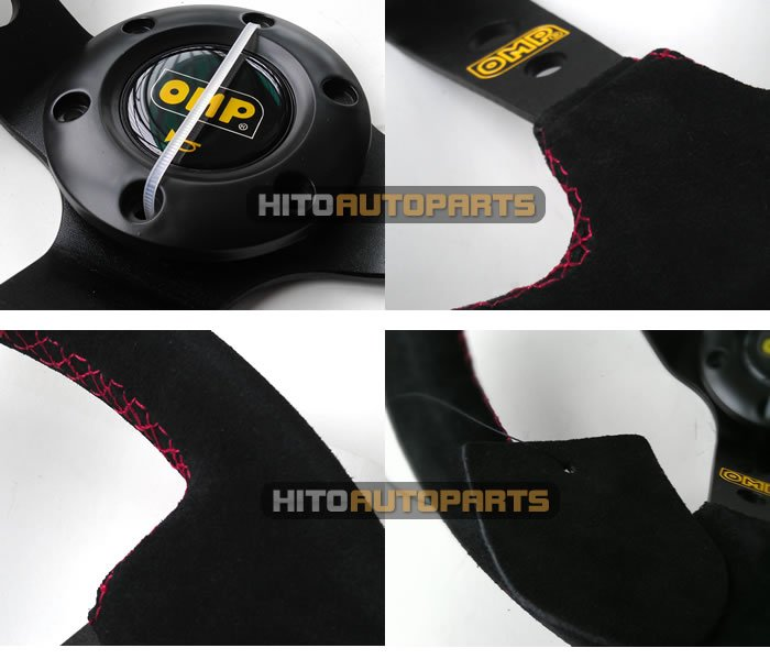 350mm Suede OMP Steering Wheel Deep Dish 14 inch Black