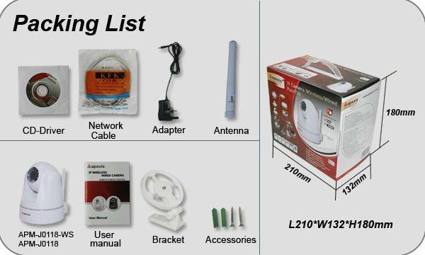 PT WiFi Wireless IP Camera J0118 apexis