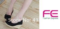 Туфли на высоком каблуке 2013 Brand Women Dresses New Fashion Bowtie Round Toe Ladies Wedge Platform Sandal Plus Size Blue & Black GG1005