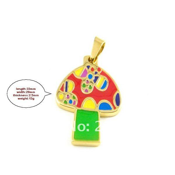 fashion colorful candy pendant; colored mushroom pendant 316l stainless steel necklace pendants & jewelry findings DZ077