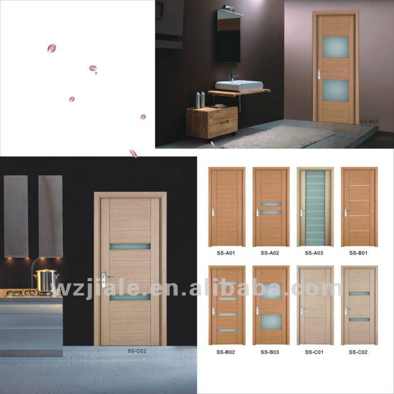 Vitrage en verre intérieur porte en bois --- porte de salle de bains ...