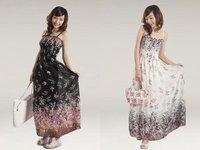 Womens BOHO Exotic Summer White Chiffon Long Dress Free Shipping