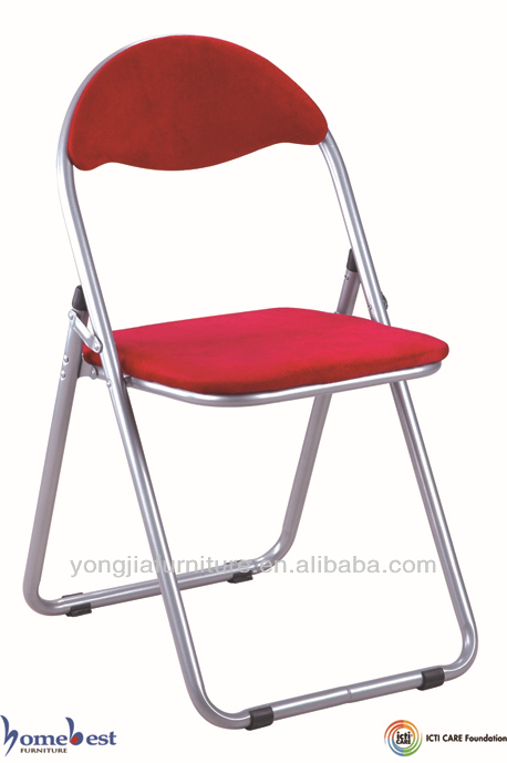 Metal Folding Chair With Cushion Pvc Seat And Chromed Steel Frame Buy Foldi