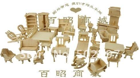 34pieces 3dwoodcraft Kit Dolls House Furniture Miniatures