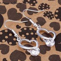 Серьги висячие S-E150, crystal heart silver earrings, hight quality, fashion jewelry, Nickle, antiallergic, factory price