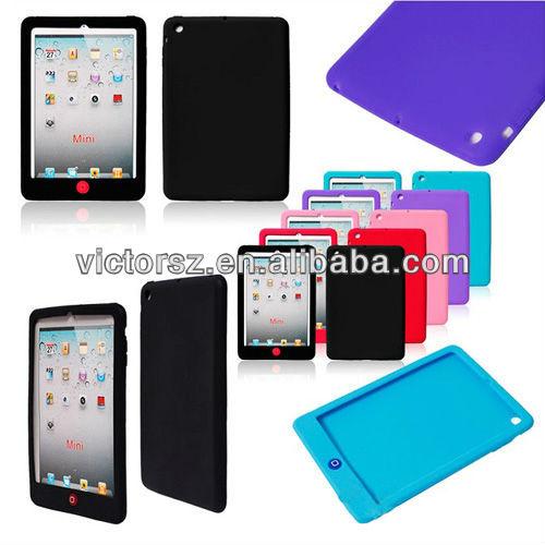 Silicone Soft Case for iPad Mini, All Black Rubber Case for Tab