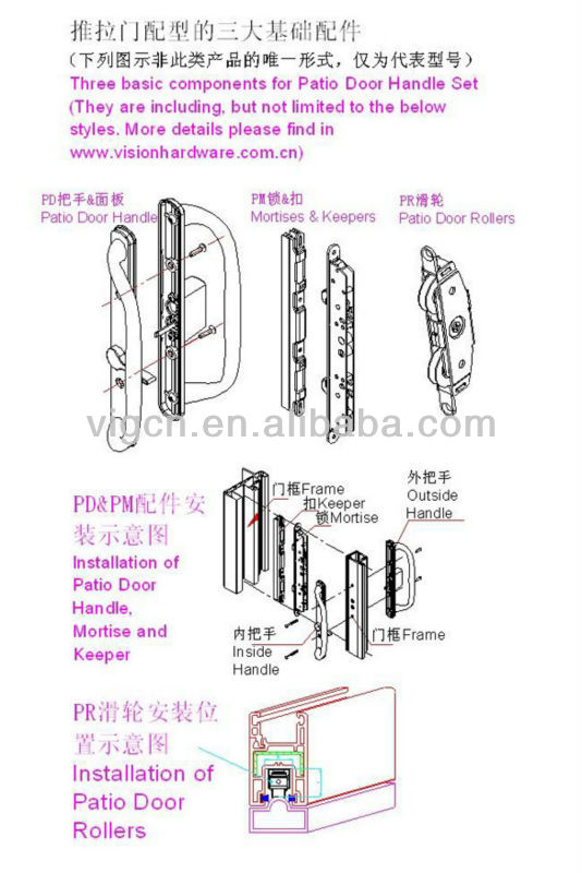 Zinc Die-casting Sliding Door Handle Hardware PD3000