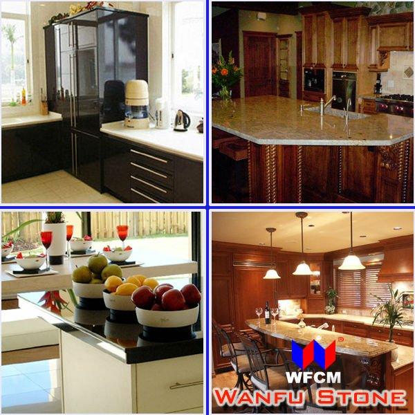 Modular cozinha bancada em granito amarelo dourado projetos para o estilo EUA # Bancada Cozinha Modular