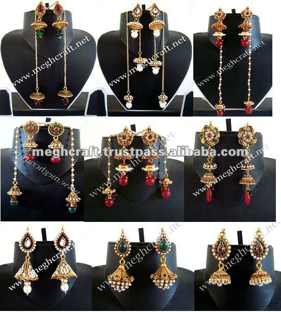 Indian ethnic earring - imitation jewellery - one gram gold jewelry - Bollywood style earrings - indian pearl earrings