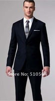 Wholesale Free shipping hot sell high quality 160's wool suit Custom made Men Business dark navy suit