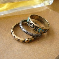 Кольцо Retail & Hot selling high fashion 3-pcs alloy Peace&Love ring, fashion jewelry