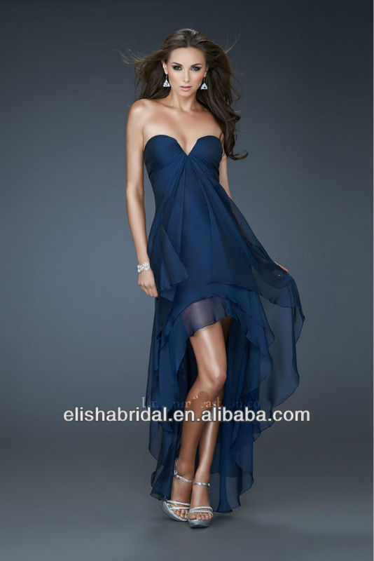 Atrapless Chiffon Navy Blue Front Short And Long Back Prom Dress