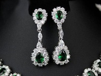 Ювелирный набор JGJ12043, Italy luxury series, 3AAA zircon, emerald, Necklace Earrings Set