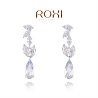 Серьги-гвоздики ROXI Exquisite platinum plat, white snowflake angel for women party with zircons, fashion jewelrys, Christmas gifts