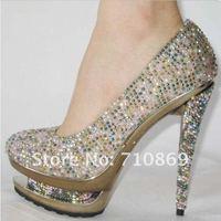Туфли на высоком каблуке Drop shipping two Platforms sexy high heels shoes, colorful diamond women's Pumps