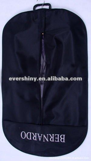 black non-woven fabric garment bag suit cover travel storage bag