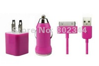Зарядное устройство для мобильных телефонов Rose Pink USB AC Wall Chargers + Mini USB Car Charger + USB Sync Data Cable for iPhone4