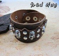 Кожаный браслет sl173 /leather bracelet, high quality cowhide, vintage skull charm wrap bracelet, fashion men's jewelry, 100% genuine leather