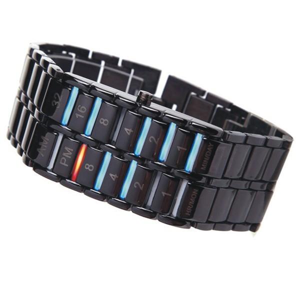 творческий лавы железа самурай из нержавеющей стали цифровой Спортивные водонепроницаемые led наручные часы браслет Часы наручные часы для мужчин, женщин