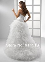 Beading Crystal High Low White Tulle Tassel Layer Feather Princess Bride Wedding Dress