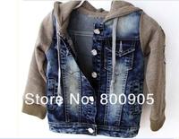 дети/дети осени мальчик джинсовой одежды пэчворк куртка прекрасный куртки Толстовки для мальчиков