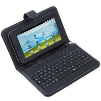 Чехол для планшета Russian keyboard&artifical leather cover case with bracket+touch pen+usb port for 7 inch tablet pc/MID