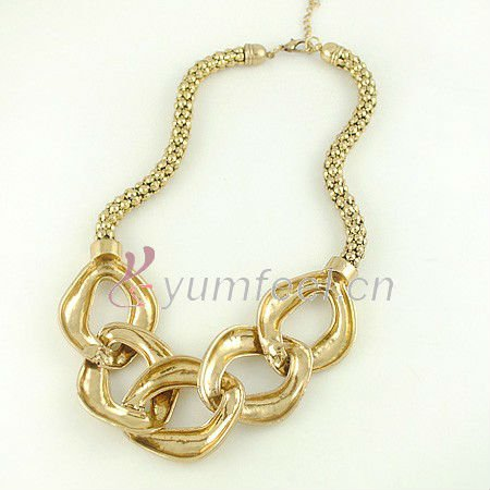 Free Shipping Antique Gold Plated Chain Necklace Vintage Gold Necklace Free Shipping