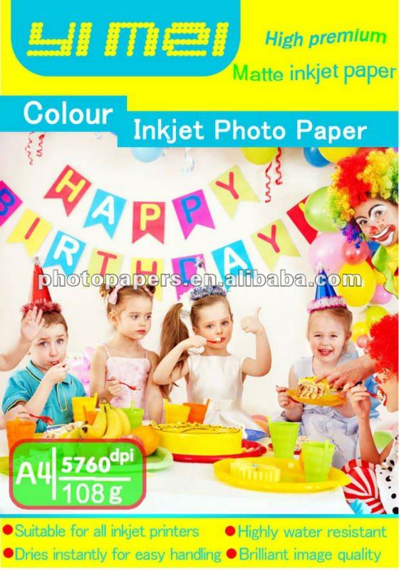 108g one side color inkjet photo paper