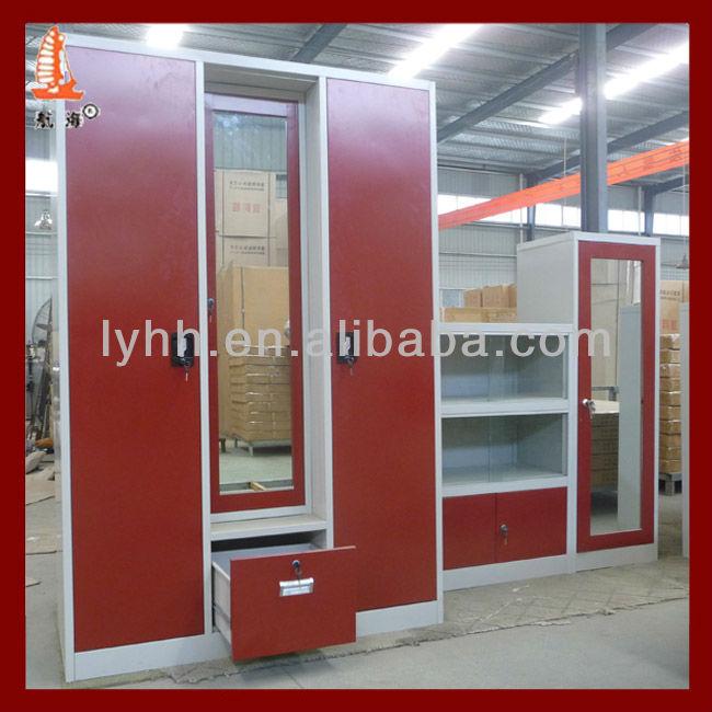 2013 New Red Bedroom Almirah Combined Indian Wardrobe