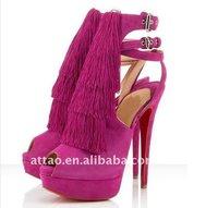 Туфли на высоком каблуке Modern Style Pink Suede Tassel High Heel Sandals