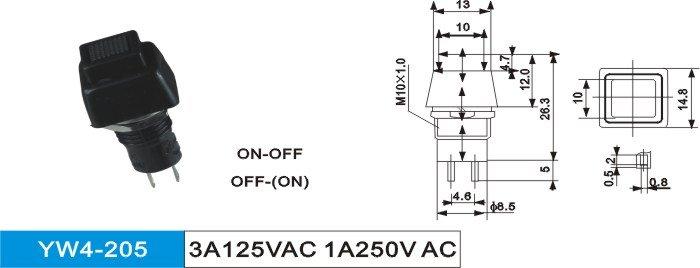 black button switch(3A125VAC 1A250VAC)