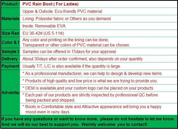 China ladies PVC transparent boots