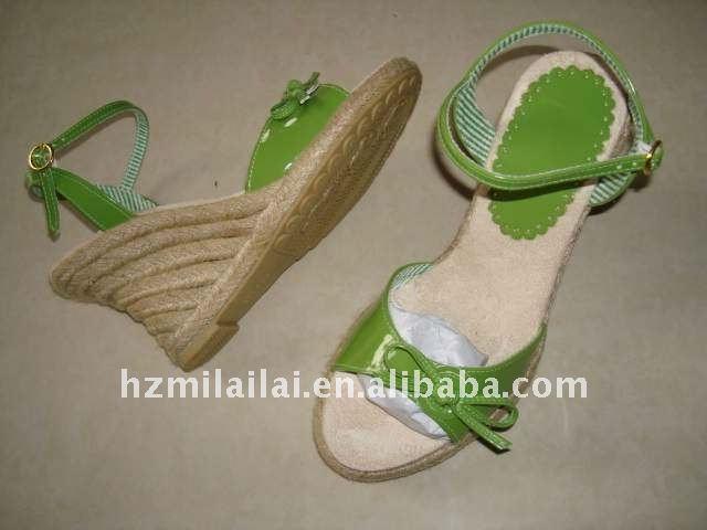 fashion hot sell ladies pertty comfortable wedge high heel jute sandals