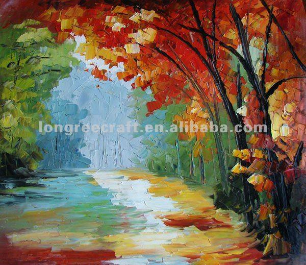 Pintura al óleo de los árboles de otoño-Pintura y Caligrafía ...