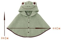 Lovely frog thickening baby cloak/ New-born windcheater/ Autumn and Winter windproof wrap