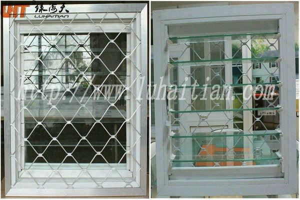 Fen tre de persiennes en verre avec grill pvc cadre for Fenetre en verre