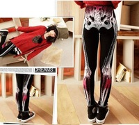 Женские носки и Колготки IRIS Knitting PH-025, 2012 New Women X-Ray Skull Skeleton Skinny Legging, Tie-dye Torse Pants/Tights