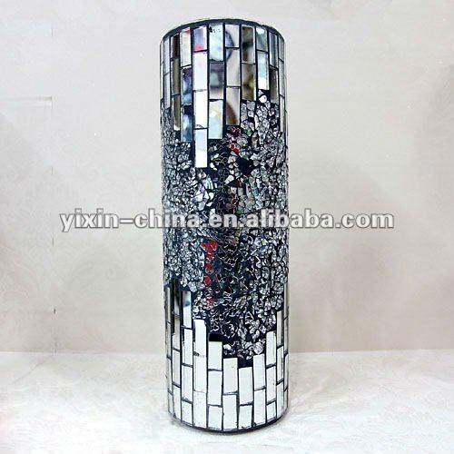 Home decoration silver with black floor vase mosaic glass for Decoration vase en verre