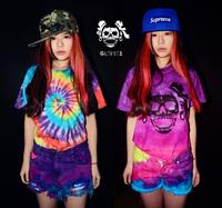 Psychedelic tie-dye Gradient Pink Retro Rivets  Denim Shorts Worn Rock Hippie Jeans ,D54+Free Shipping