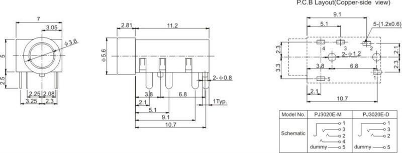 3.5 мм разъем для печатной
