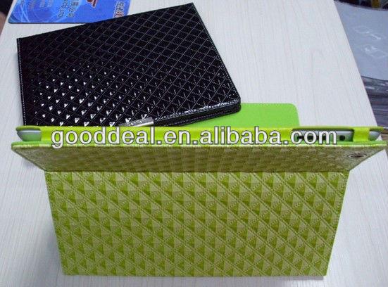 Diamond grain standing leather case for ipad 3 case
