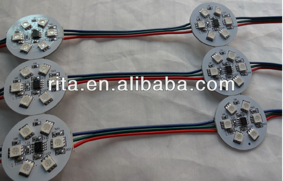 DC24V UCS1903 LED pixe PCBA;DC24V input;6pcs 5050 SMD RGB LED,1.44W;36mm diameter