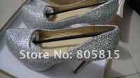 Туфли на высоком каблуке newest women's Rhinestone wedding shoes, 16cm/14cm/12cm/10cm heels ladies' crystal shoes, platform shoes