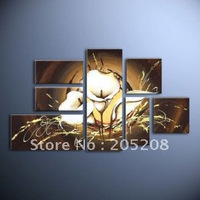 Картина 7 Panels 100% Handpainted High End Huge Wall Art Modern Flower Oil Painting on Canvas Picture Home Decoration