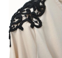 free shipping shoulder lace puff sleeve cotton elastic casual women dresses 1pcs