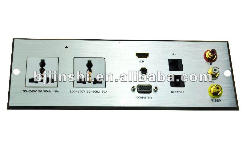 AC power +HDMI+HD15 VGA + 3.5mm + USB+ RCA Audio/Video + Keystone All in one Wall Plate - Black